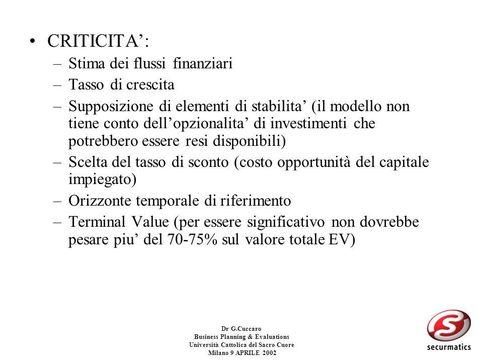 Dr G.Cuccaro Business Planning & Evaluations Università Cattolica del Sacro Cuore Milano 9 APRILE 2002 UDCF: Il valore di continuazione Il valore di c