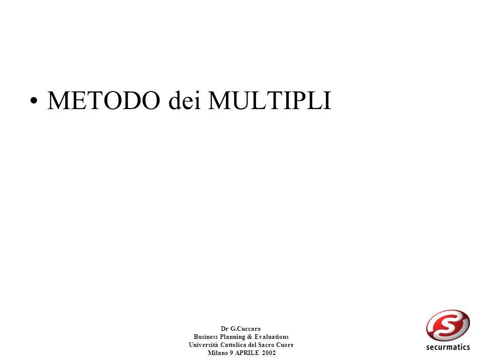 Dr G.Cuccaro Business Planning & Evaluations Università Cattolica del Sacro Cuore Milano 9 APRILE 2002 CRITICITA: –Stima dei flussi finanziari –Tasso