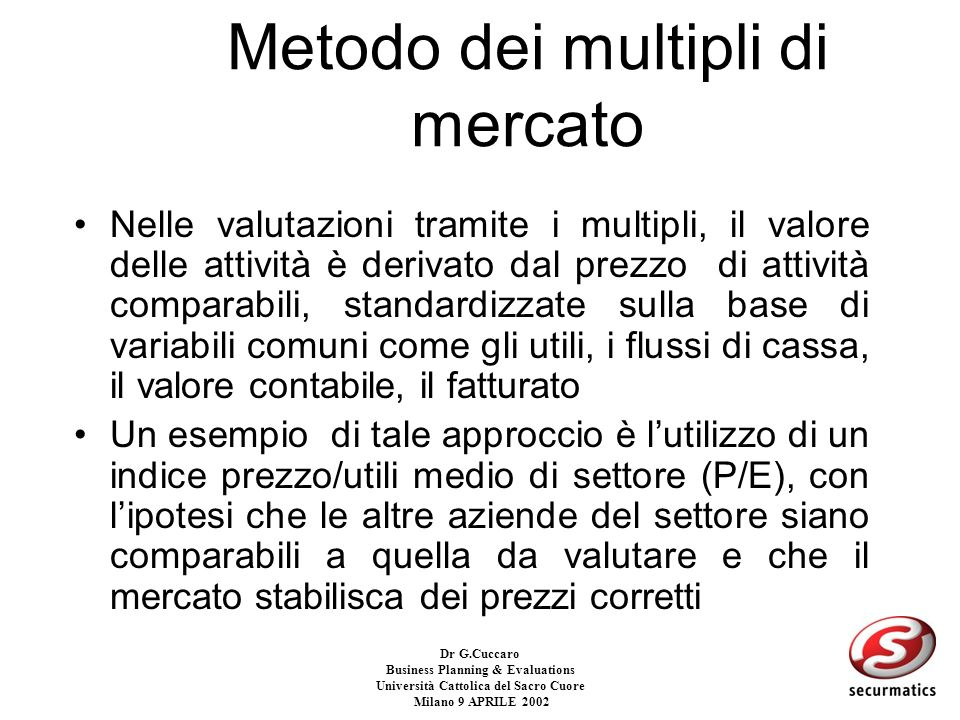 Dr G.Cuccaro Business Planning & Evaluations Università Cattolica del Sacro Cuore Milano 9 APRILE 2002 METODO dei MULTIPLI