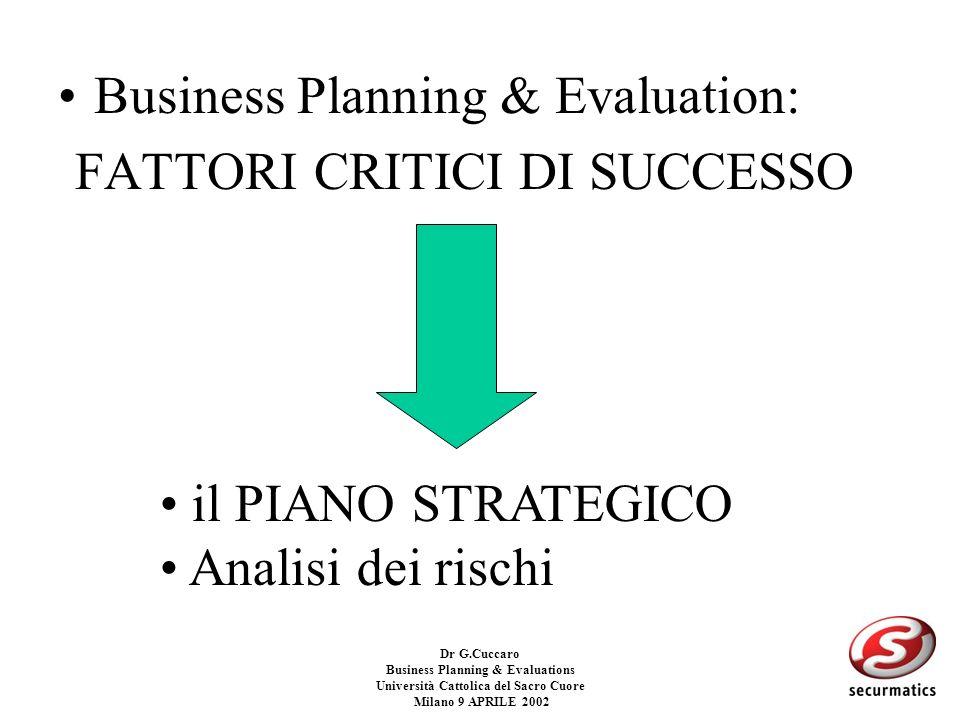 Dr G.Cuccaro Business Planning & Evaluations Università Cattolica del Sacro Cuore Milano 9 APRILE 2002 CRITICITA: –Utilizzo di tasso di sconto (IRR) a