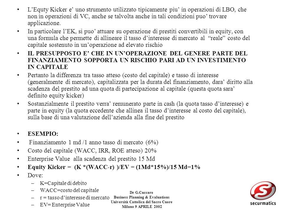 Dr G.Cuccaro Business Planning & Evaluations Università Cattolica del Sacro Cuore Milano 9 APRILE 2002 STRUMENTI FINANZIARI A SUPPORTO DI OPERAZIONI S