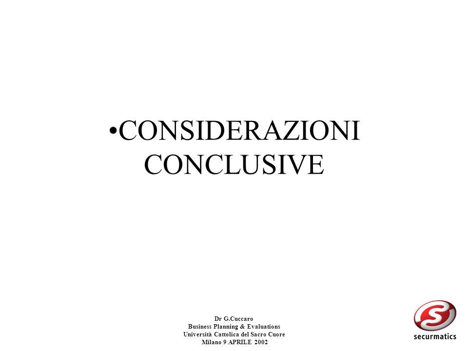Dr G.Cuccaro Business Planning & Evaluations Università Cattolica del Sacro Cuore Milano 9 APRILE 2002 Esempio su uniniziativa caratterizzata da un ri