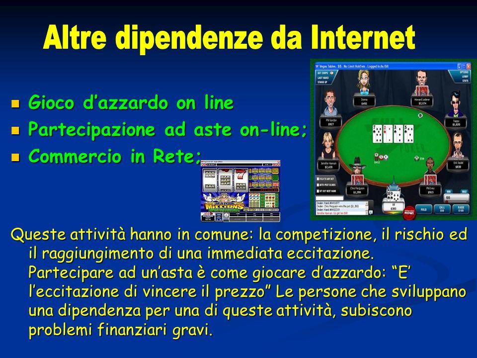 Gioco dazzardo on line Gioco dazzardo on line Partecipazione ad aste on-line; Partecipazione ad aste on-line; Commercio in Rete; Commercio in Rete; Qu