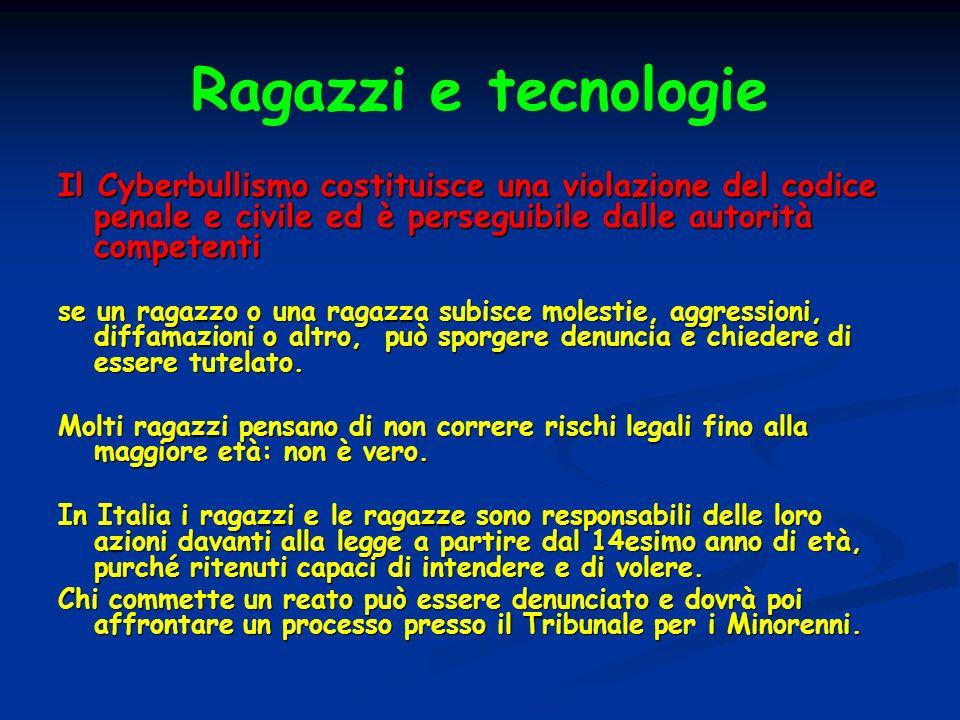 Ragazzi e tecnologie Il Cyberbullismo costituisce una violazione del codice penale e civile ed è perseguibile dalle autorità competenti se un ragazzo