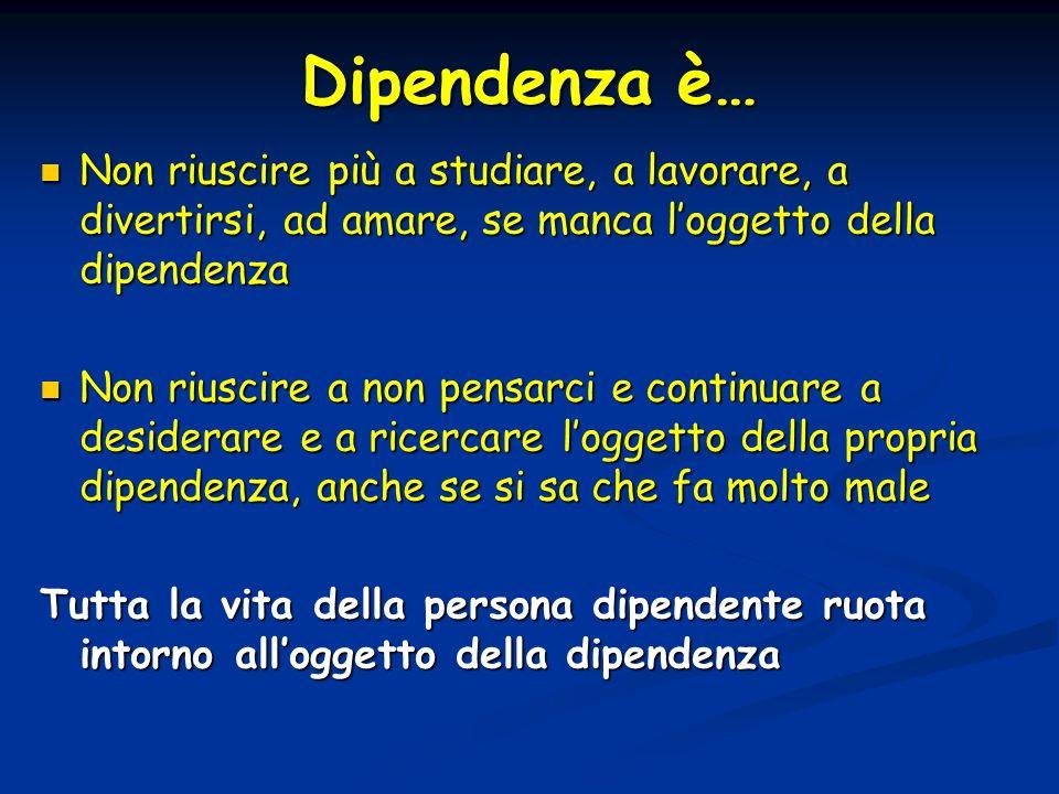 Dipendenza è… Non riuscire più a studiare, a lavorare, a divertirsi, ad amare, se manca loggetto della dipendenza Non riuscire più a studiare, a lavor