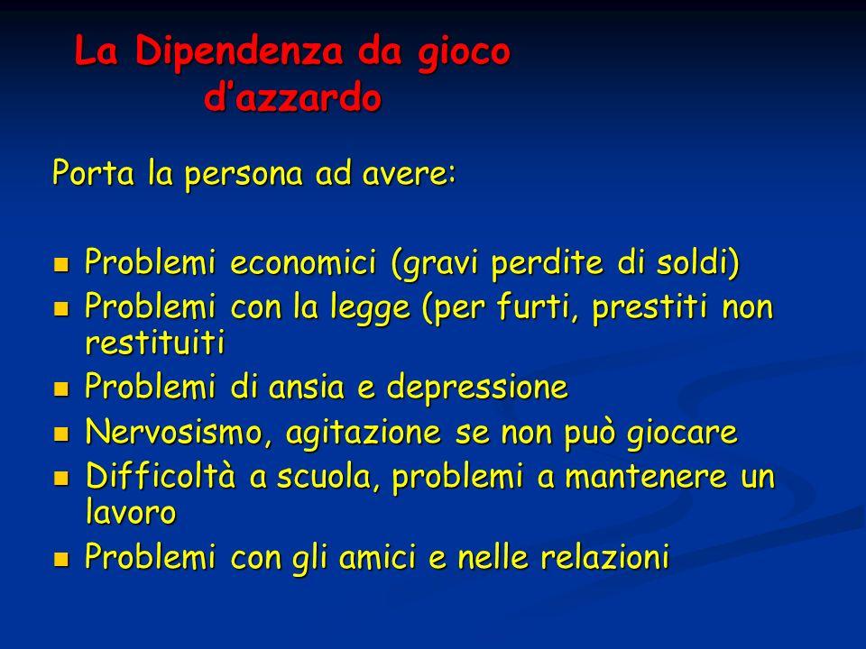 La Dipendenza da gioco dazzardo Porta la persona ad avere: Problemi economici (gravi perdite di soldi) Problemi economici (gravi perdite di soldi) Pro