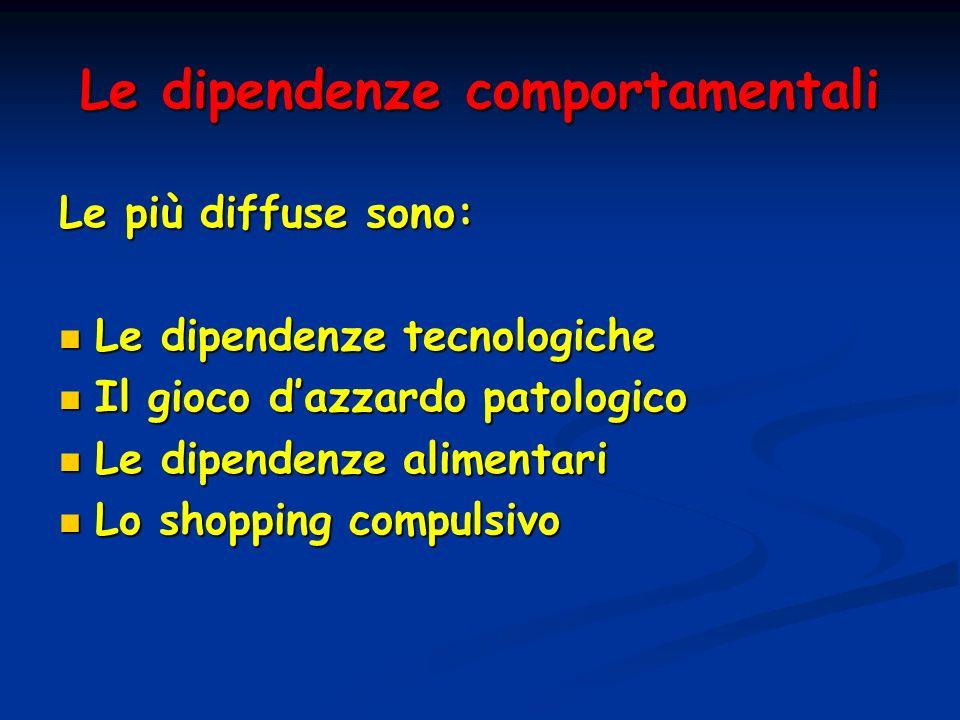 Le dipendenze comportamentali Le più diffuse sono: Le dipendenze tecnologiche Le dipendenze tecnologiche Il gioco dazzardo patologico Il gioco dazzard