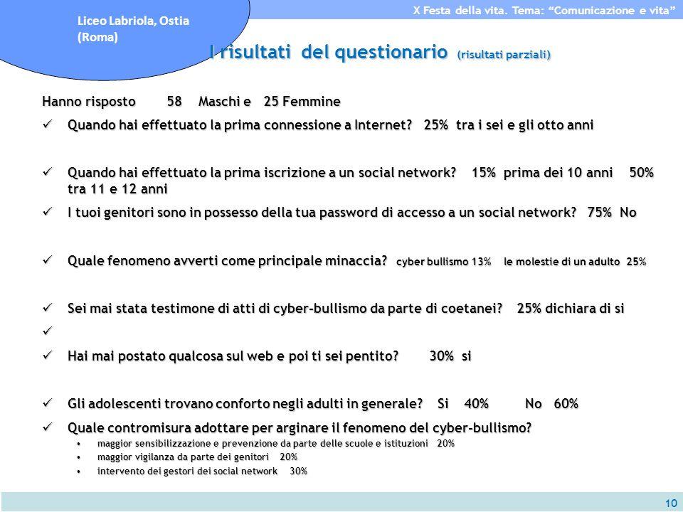 10 X Festa della vita. Tema: Comunicazione e vita Liceo Labriola, Ostia (Roma) I risultati del questionario (risultati parziali) Hanno risposto 58 Mas
