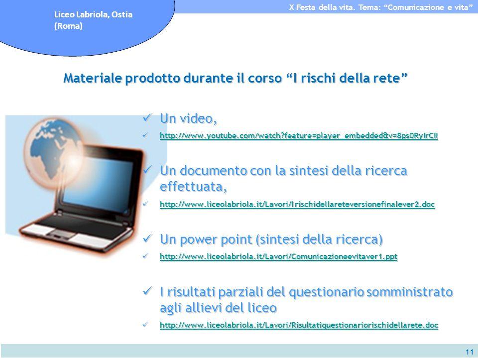 11 X Festa della vita. Tema: Comunicazione e vita Liceo Labriola, Ostia (Roma) Materiale prodotto durante il corso I rischi della rete Un video, Un vi