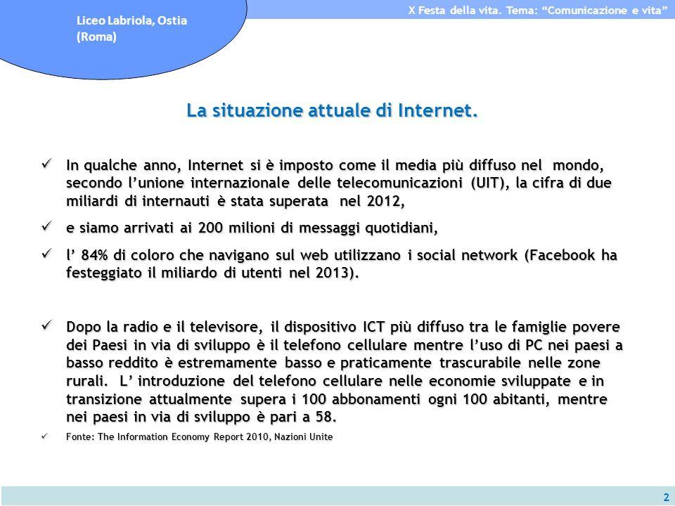 2 X Festa della vita. Tema: Comunicazione e vita Liceo Labriola, Ostia (Roma) La situazione attuale di Internet. In qualche anno, Internet si è impost