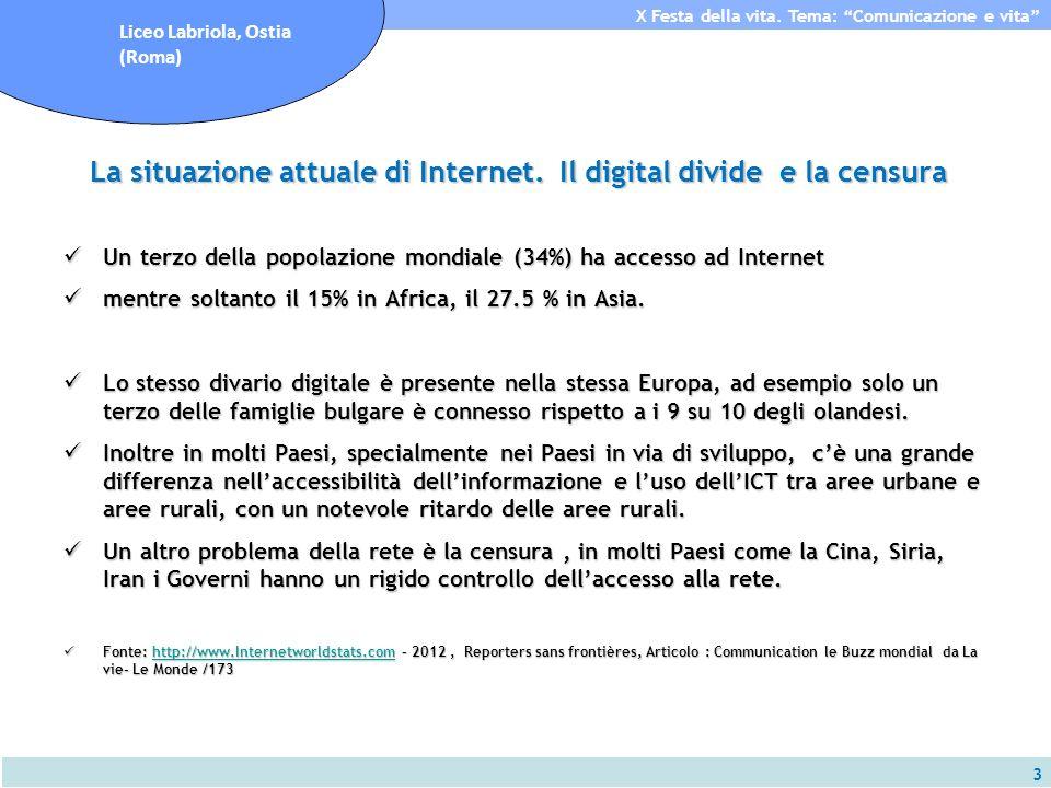 3 X Festa della vita. Tema: Comunicazione e vita Liceo Labriola, Ostia (Roma) La situazione attuale di Internet. Il digital divide e la censura Un ter