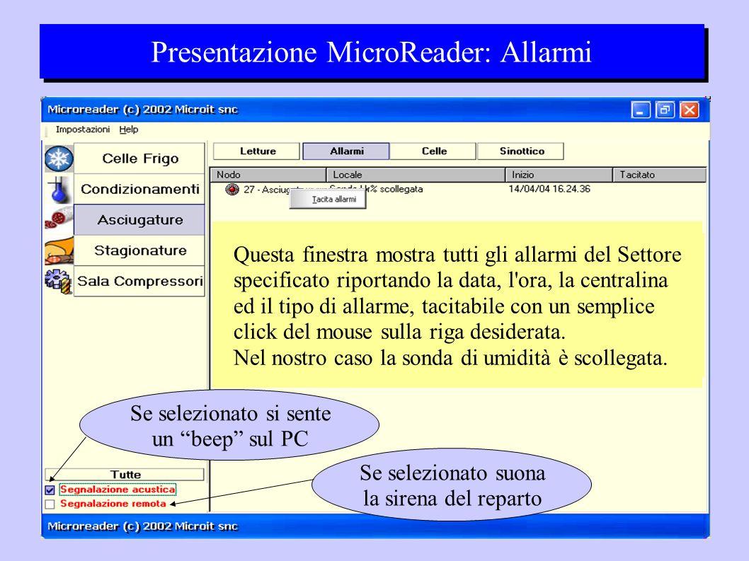Presentazione MicroReader: Allarmi Questa finestra mostra tutti gli allarmi del Settore specificato riportando la data, l ora, la centralina ed il tipo di allarme, tacitabile con un semplice click del mouse sulla riga desiderata.