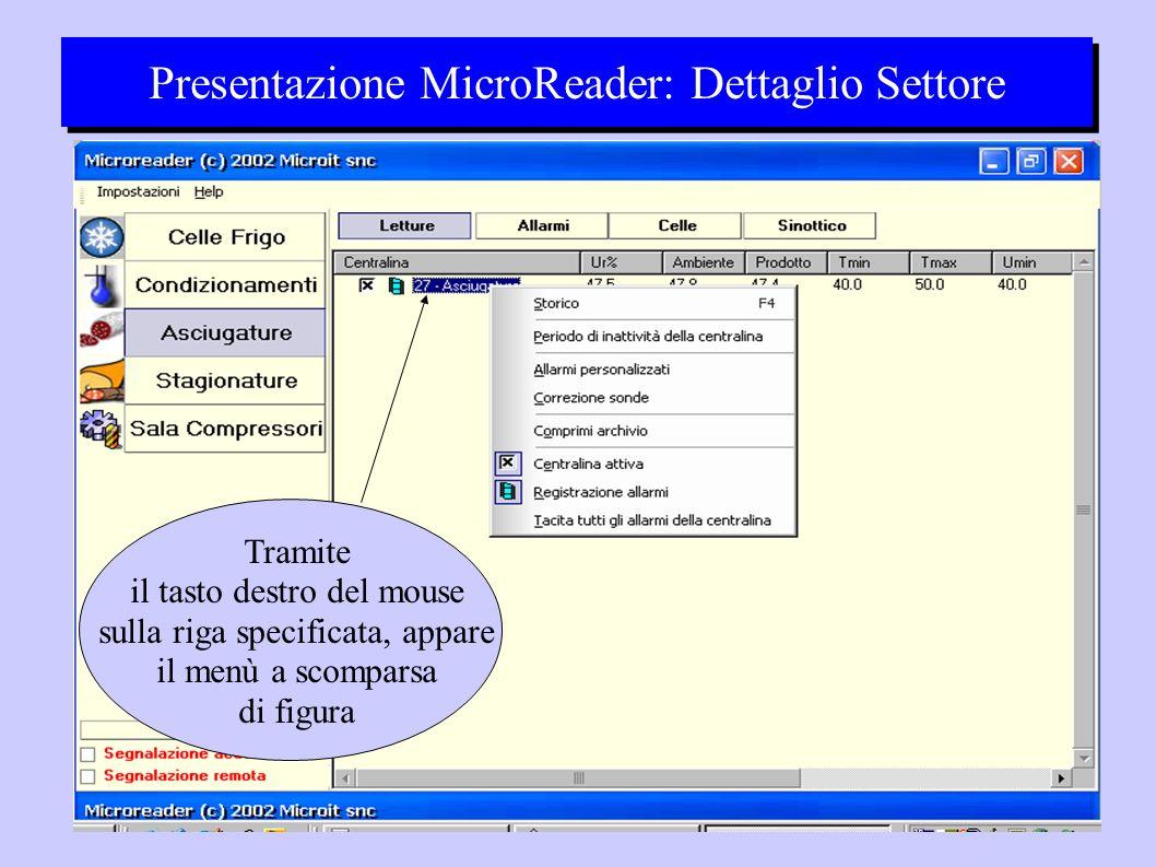 Presentazione MicroReader: Dettaglio Settore Tramite il tasto destro del mouse sulla riga specificata, appare il menù a scomparsa di figura