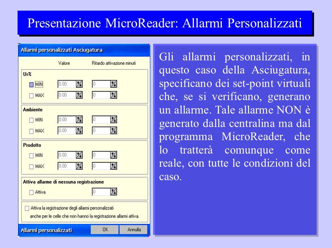 Presentazione MicroReader: Allarmi Personalizzati Gli allarmi personalizzati, in questo caso della Asciugatura, specificano dei set-point virtuali che, se si verificano, generano un allarme.