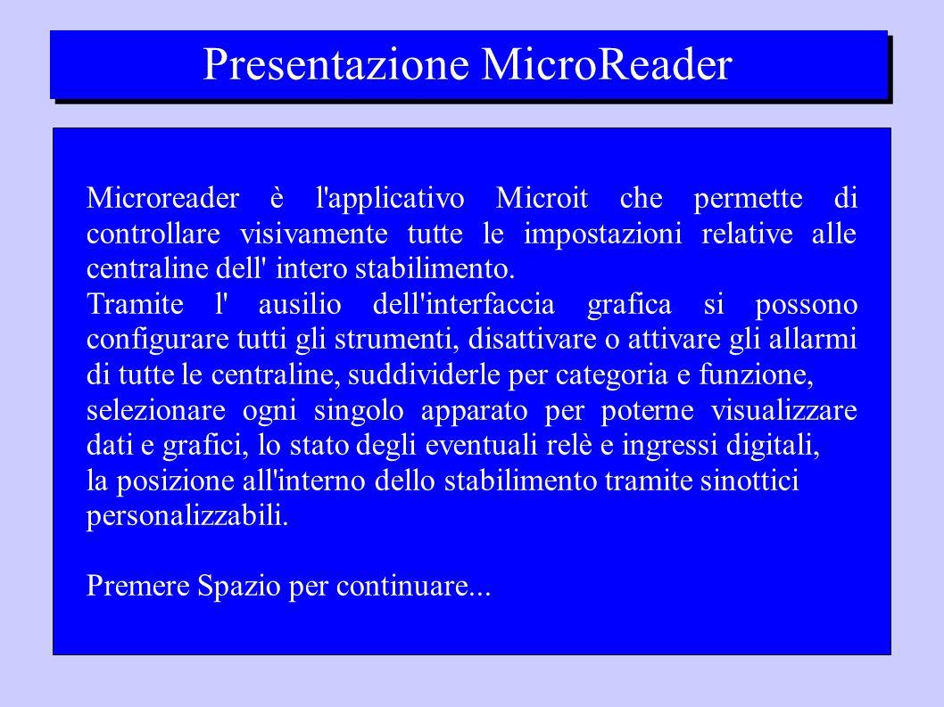 Presentazione MicroReader Microreader è l applicativo Microit che permette di controllare visivamente tutte le impostazioni relative alle centraline dell intero stabilimento.