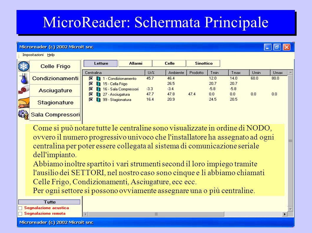 MicroReader: Schermata Principale Come si può notare tutte le centraline sono visualizzate in ordine di NODO, ovvero il numero progressivo univoco che l installatore ha assegnato ad ogni centralina per poter essere collegata al sistema di comunicazione seriale dell impianto.