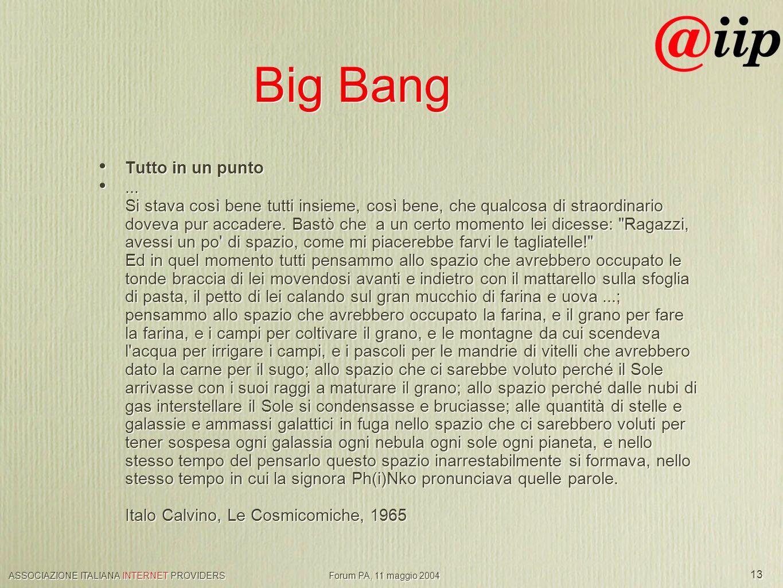 ASSOCIAZIONE ITALIANA INTERNET PROVIDERS Forum PA, 11 maggio 2004 13 Big Bang Tutto in un punto...