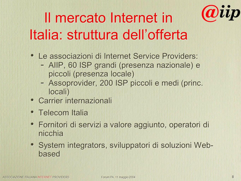 ASSOCIAZIONE ITALIANA INTERNET PROVIDERS Forum PA, 11 maggio 2004 8 Il mercato Internet in Italia: struttura dellofferta Le associazioni di Internet Service Providers: - AIIP, 60 ISP grandi (presenza nazionale) e piccoli (presenza locale) - Assoprovider, 200 ISP piccoli e medi (princ.