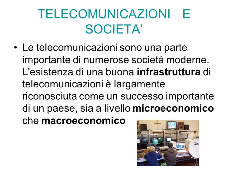 TELECOMUNICAZIONI E SOCIETA Le telecomunicazioni sono una parte importante di numerose società moderne. L'esistenza di una buona infrastruttura di tel