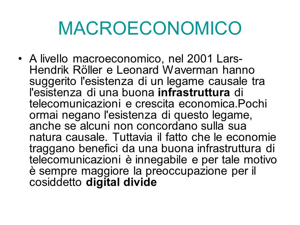 MACROECONOMICO A livello macroeconomico, nel 2001 Lars- Hendrik Röller e Leonard Waverman hanno suggerito l'esistenza di un legame causale tra l'esist