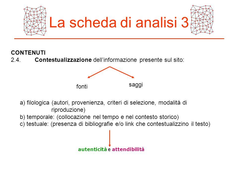 La scheda di analisi 3 CONTENUTI 2.4.Contestualizzazione dellinformazione presente sul sito: a) filologica (autori, provenienza, criteri di selezione,