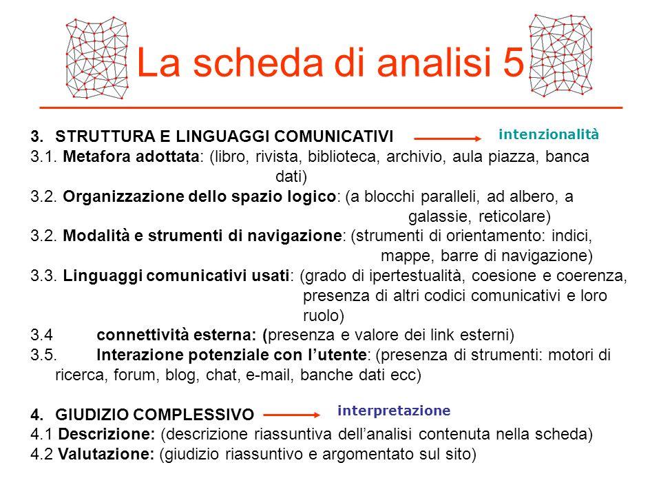 La scheda di analisi 5 3.STRUTTURA E LINGUAGGI COMUNICATIVI 3.1. Metafora adottata: (libro, rivista, biblioteca, archivio, aula piazza, banca dati) 3.