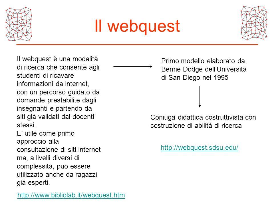 Il webquest Il webquest è una modalità di ricerca che consente agli studenti di ricavare informazioni da internet, con un percorso guidato da domande
