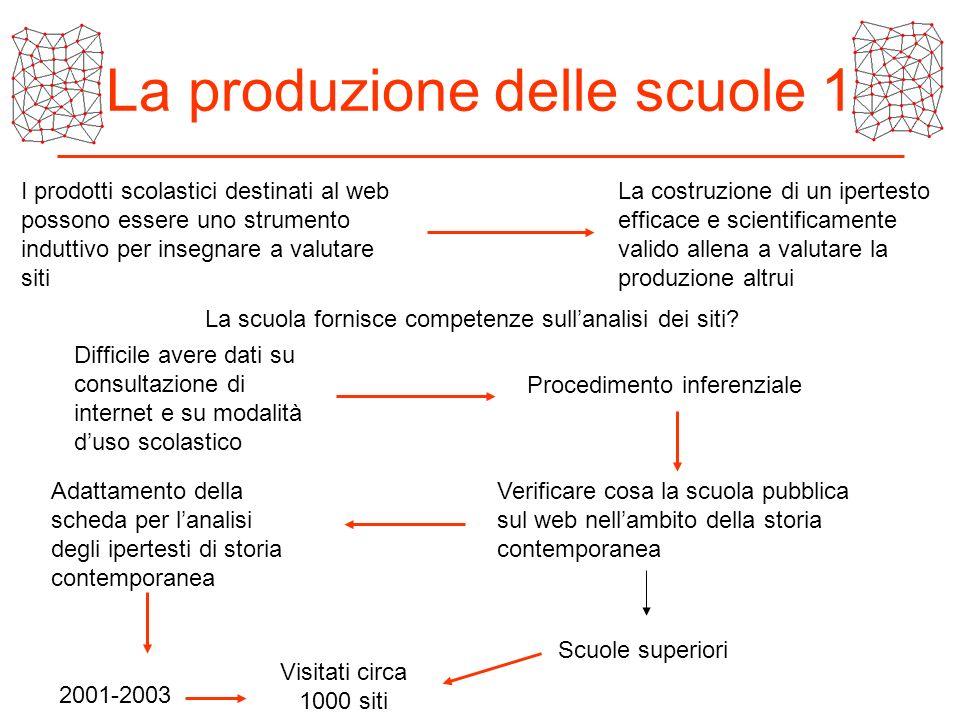 La produzione delle scuole 1 I prodotti scolastici destinati al web possono essere uno strumento induttivo per insegnare a valutare siti La costruzion