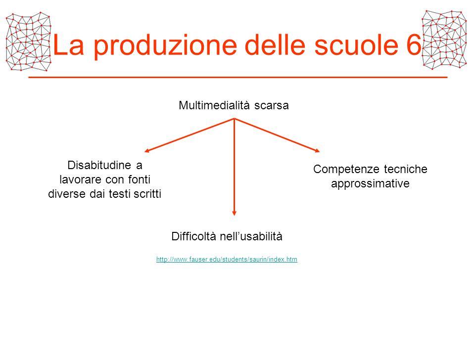 La produzione delle scuole 6 Multimedialità scarsa Disabitudine a lavorare con fonti diverse dai testi scritti Competenze tecniche approssimative Diff