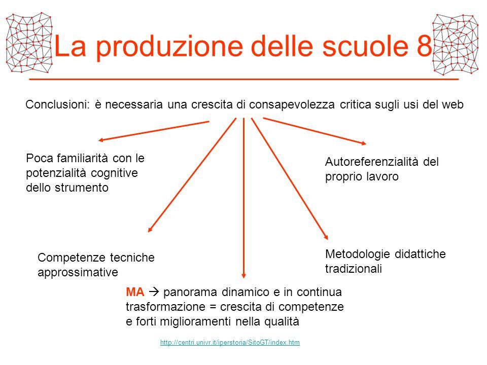 La produzione delle scuole 8 Conclusioni: è necessaria una crescita di consapevolezza critica sugli usi del web Poca familiarità con le potenzialità c