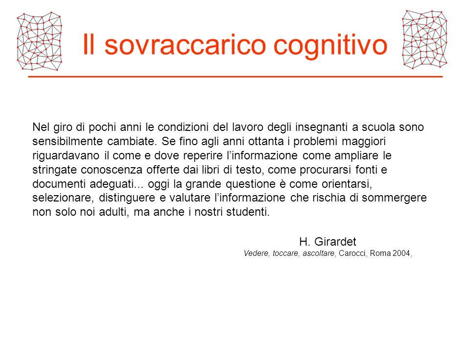 Il sovraccarico cognitivo Nel giro di pochi anni le condizioni del lavoro degli insegnanti a scuola sono sensibilmente cambiate. Se fino agli anni ott