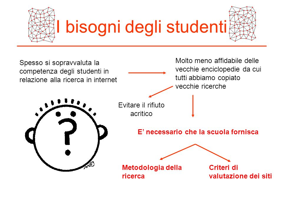 I bisogni degli studenti Spesso si sopravvaluta la competenza degli studenti in relazione alla ricerca in internet Molto meno affidabile delle vecchie