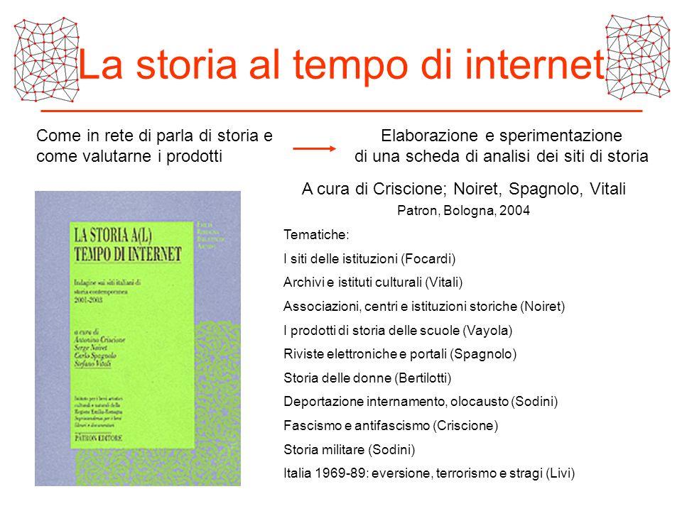 La storia al tempo di internet Come in rete di parla di storia e come valutarne i prodotti Elaborazione e sperimentazione di una scheda di analisi dei