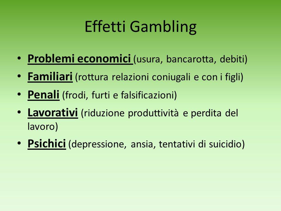 Gambling Il giocatore deve scommettere del denaro o un oggetto Lesito dipende soprattutto dal caso Quelli più pericolosi sono: Slot machine Roulette V
