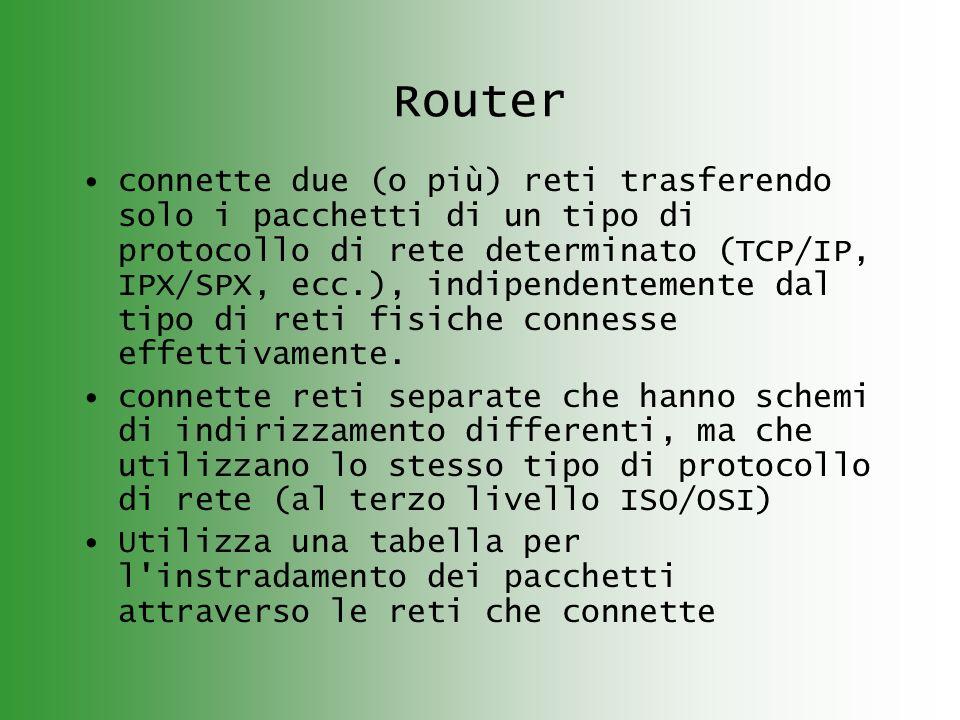 Router connette due (o più) reti trasferendo solo i pacchetti di un tipo di protocollo di rete determinato (TCP/IP, IPX/SPX, ecc.), indipendentemente