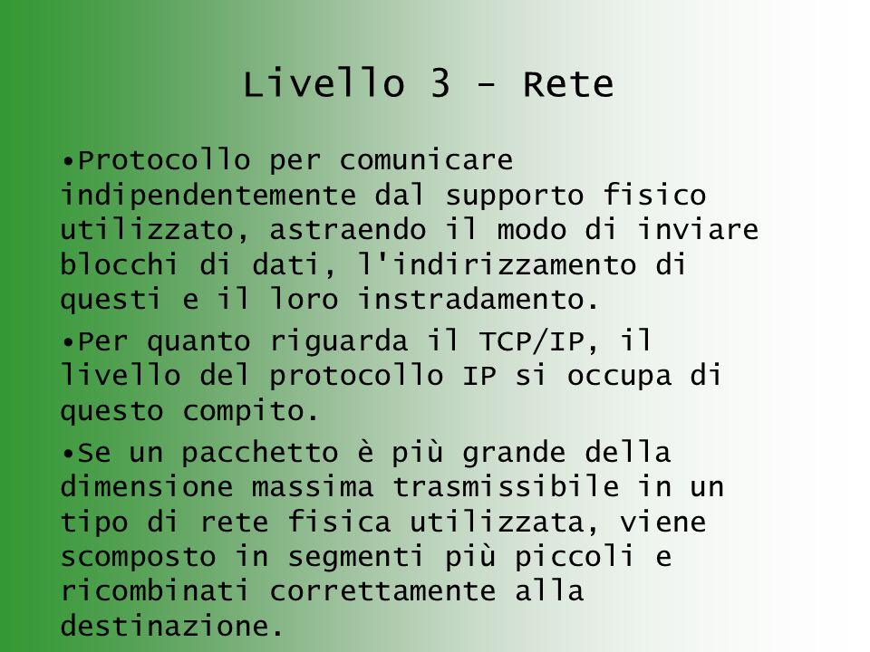 Livello 3 - Rete Protocollo per comunicare indipendentemente dal supporto fisico utilizzato, astraendo il modo di inviare blocchi di dati, l indirizzamento di questi e il loro instradamento.