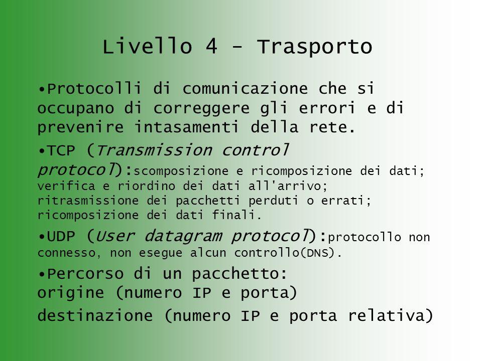 Livello 4 - Trasporto Protocolli di comunicazione che si occupano di correggere gli errori e di prevenire intasamenti della rete. TCP (Transmission co
