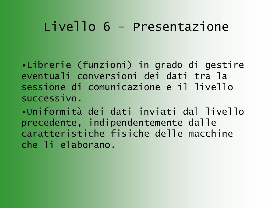 Livello 6 - Presentazione Librerie (funzioni) in grado di gestire eventuali conversioni dei dati tra la sessione di comunicazione e il livello successivo.