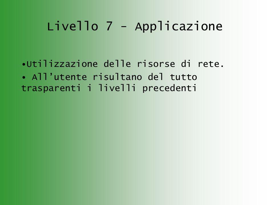 Livello 7 - Applicazione Utilizzazione delle risorse di rete. Allutente risultano del tutto trasparenti i livelli precedenti