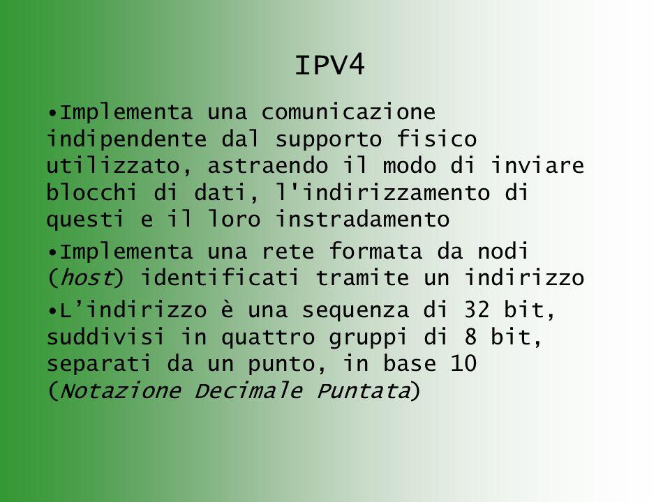IPV4 Implementa una comunicazione indipendente dal supporto fisico utilizzato, astraendo il modo di inviare blocchi di dati, l indirizzamento di questi e il loro instradamento Implementa una rete formata da nodi (host) identificati tramite un indirizzo Lindirizzo è una sequenza di 32 bit, suddivisi in quattro gruppi di 8 bit, separati da un punto, in base 10 (Notazione Decimale Puntata)