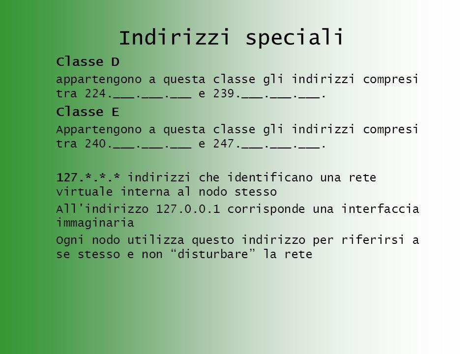Indirizzi speciali Classe D appartengono a questa classe gli indirizzi compresi tra 224.___.___.___ e 239.___.___.___. Classe E Appartengono a questa