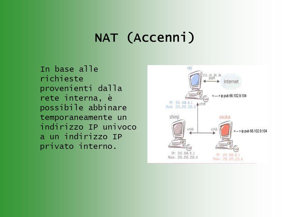 NAT (Accenni) In base alle richieste provenienti dalla rete interna, è possibile abbinare temporaneamente un indirizzo IP univoco a un indirizzo IP privato interno.