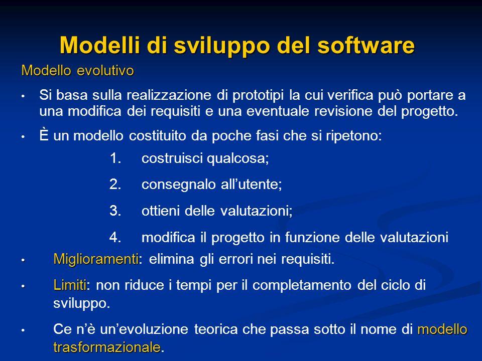 Modelli di sviluppo del software Modello evolutivo Si basa sulla realizzazione di prototipi la cui verifica può portare a una modifica dei requisiti e