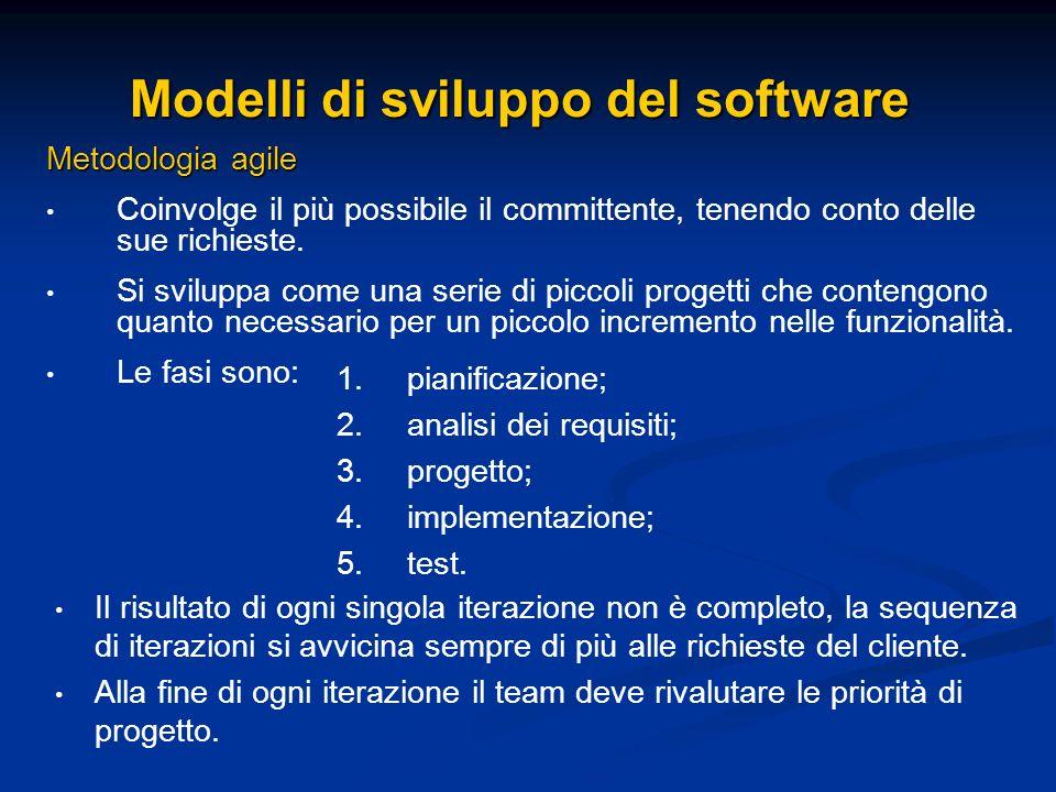 Modelli di sviluppo del software Metodologia agile Coinvolge il più possibile il committente, tenendo conto delle sue richieste. Si sviluppa come una