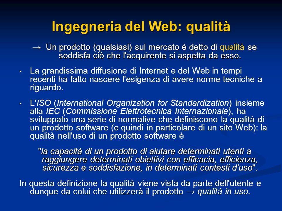 Ingegneria del Web: qualità Un prodotto (qualsiasi) sul mercato è detto di qualità se soddisfa ciò che l'acquirente si aspetta da esso. Un prodotto (q