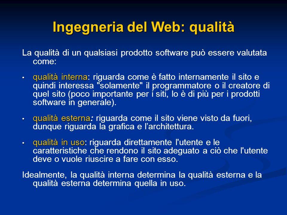 Ingegneria del Web: qualità La qualità di un qualsiasi prodotto software può essere valutata come: qualità interna qualità interna: riguarda come è fa