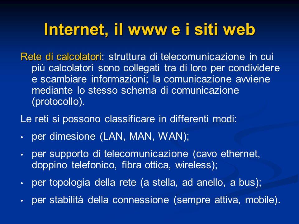 Internet, il www e i siti web Rete di calcolatori Rete di calcolatori: struttura di telecomunicazione in cui più calcolatori sono collegati tra di lor