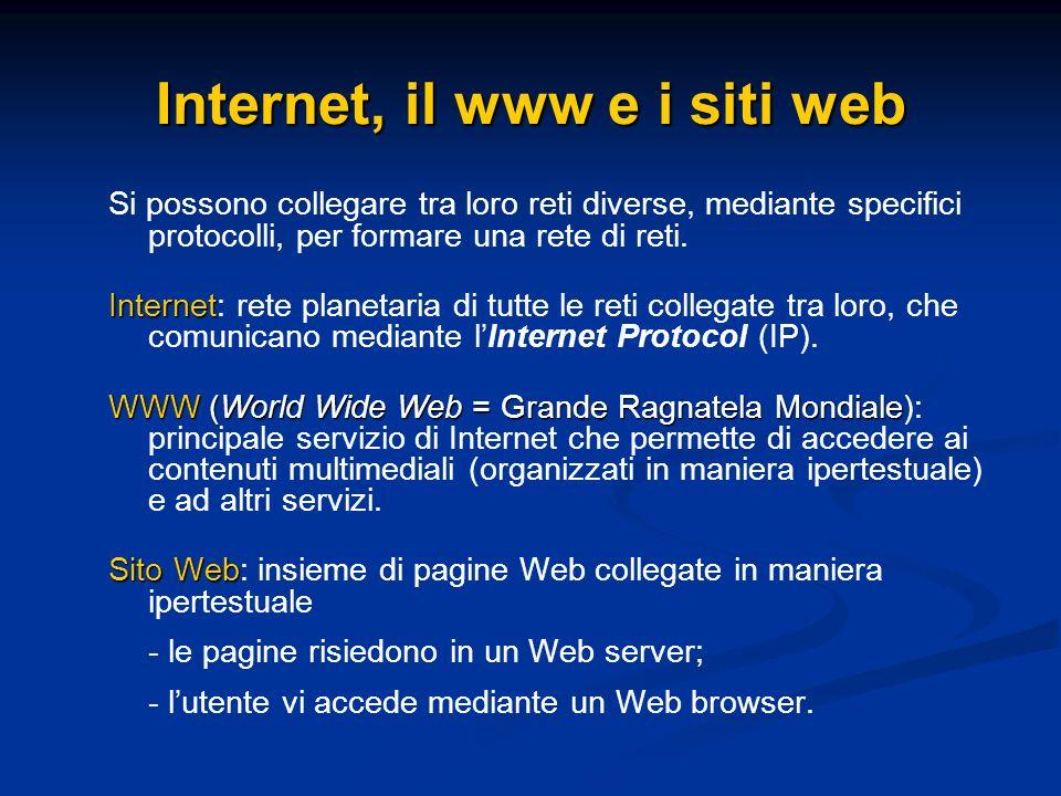Internet, il www e i siti web Si possono collegare tra loro reti diverse, mediante specifici protocolli, per formare una rete di reti. Internet Intern