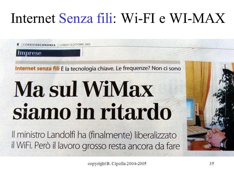 copyright B. Cipolla 2004-200535 Internet Senza fili: Wi-FI e WI-MAX