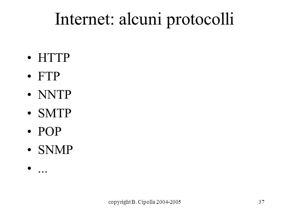 copyright B. Cipolla 2004-200537 Internet: alcuni protocolli HTTP FTP NNTP SMTP POP SNMP...